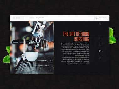 Product page website mockup for Coffee Company