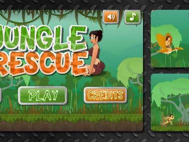 Jungle Rescue 2D game art/animation