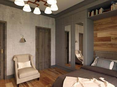 Design of a bedroom for the teenager