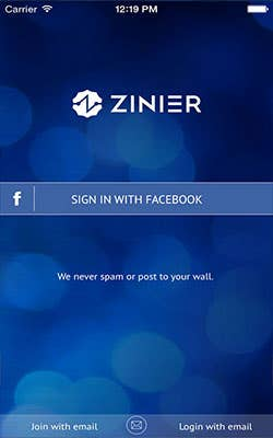 ZINIER cloud based app based on IOS platform