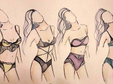 watercolour illustretion (lingerie, swimwear)