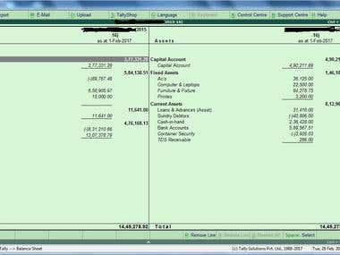 Tally ERP 9 Balance Sheet Working