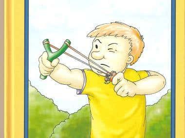 19 illustrations for children book ,,The Wasp Flinger,,