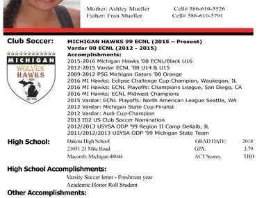 Portfolio college profile
