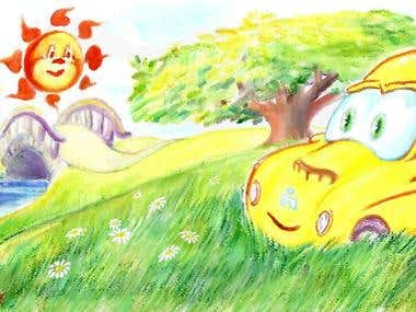 27 children's book illustration for ,,Yellow car adventure,,