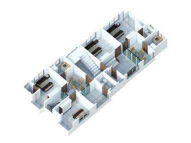 Isometric View_Apartment Interior