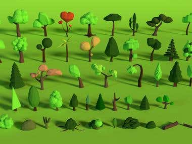 3D Low Poly Trees and Rocks