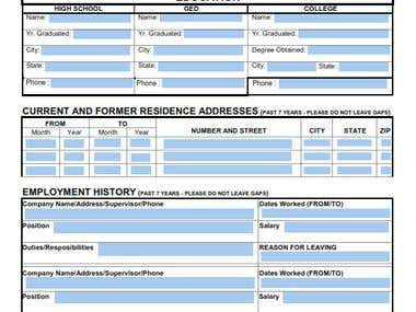 Fill-able PDF form