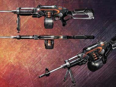Futuristic muchine gun