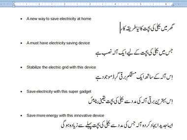 ENGLISH TO URDU TRANSLATION