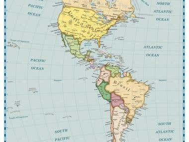 Map of the Nth and Sth America