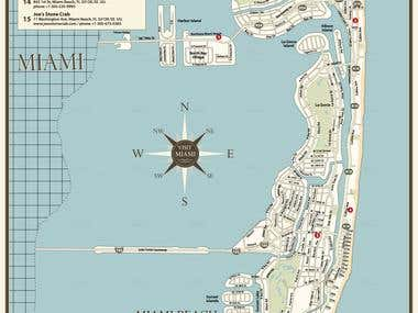 Vector Map of Miami island