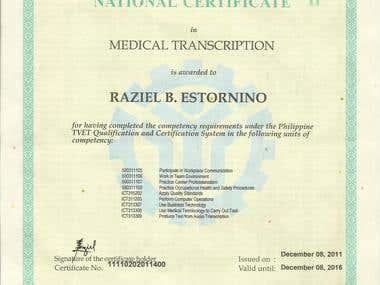 Certified TESDA Medical Transcriptionist