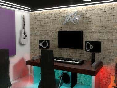 Rendering a musical studio