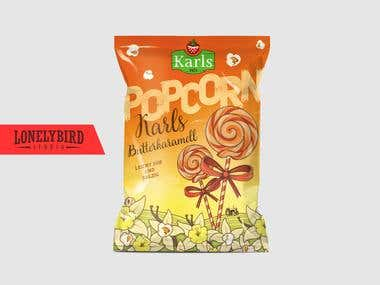 Package design for caramell popcorn