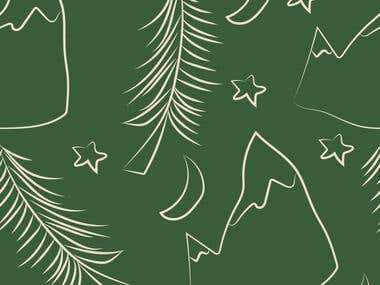 Mountain digital design, repeat fabric pattern