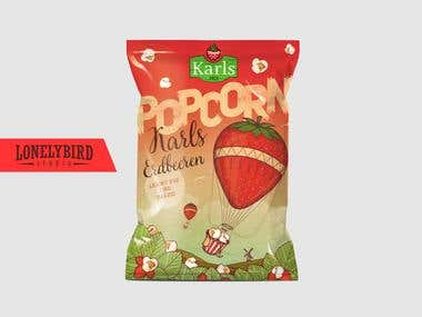 Package design for strawberry popcorn