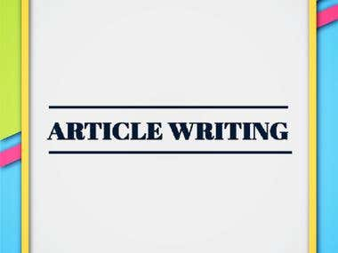 Article / Blog Writing Upto 3000 Words