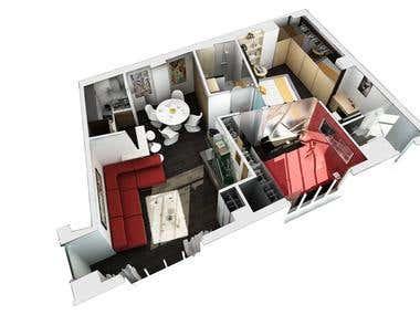 3D floor plan - House + Apartment