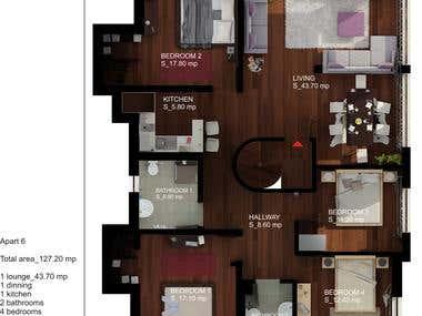 2D COLOR floor plans - HOUSE + APARTMENT