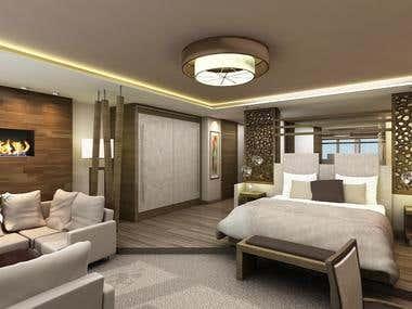 INTERIOR renderings - Hotel Room