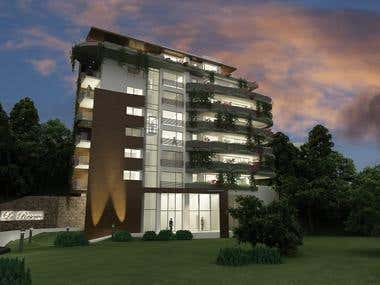EXTERIOR renderings 2 - APARTMENT + OFFICE BUILDING