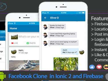 Facebook Clone ( Social App ) in ionic and firebase