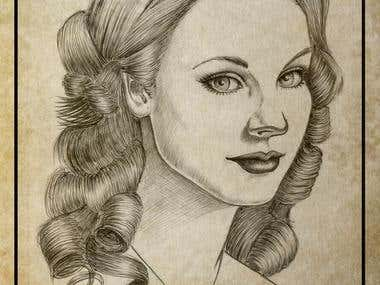Pen and pencil drawings...