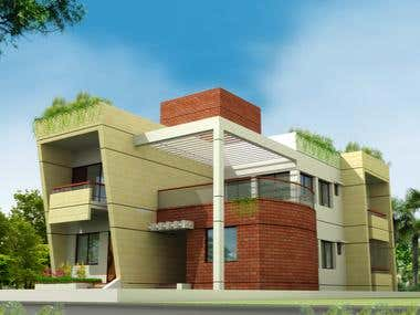 Elevation View of Duplex House