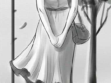 Girl waiting illustration GIF
