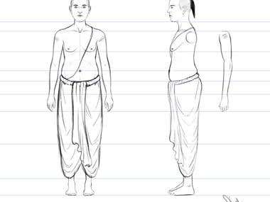 Character sheet for 3D modelling.