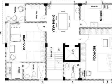 Architectural Auto-Cad Layout Drawing