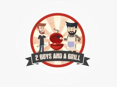 "Mascot Logo For ""2 Guys and a Grill"""