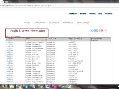 Web Scraping of Advanced Public License Lookup - CaLBRE