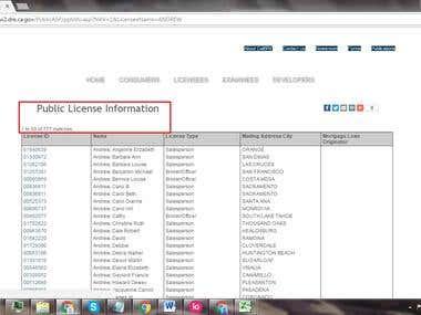 Web Scraping of Advanced Public License Lookup - CaLBRE