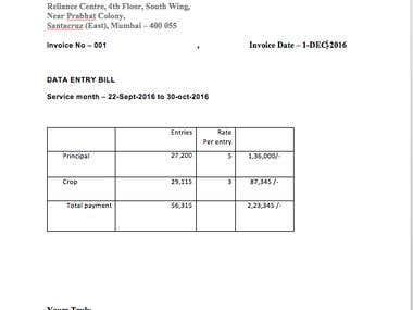 PDF to Excel - Reliance PVT LTD