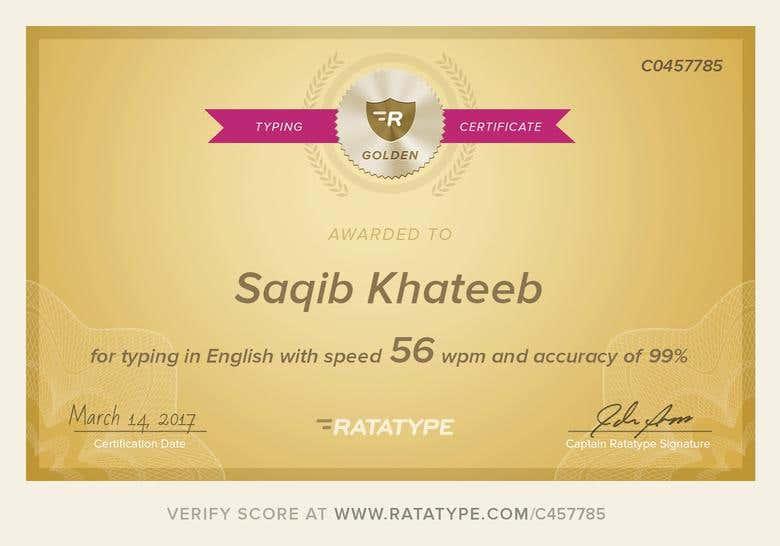 Typing Speed Certificate Freelancer