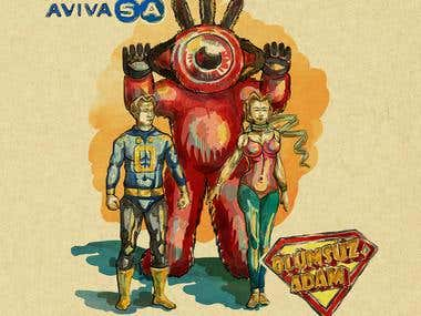 AvivaSA ads video storyboard and costume concepts