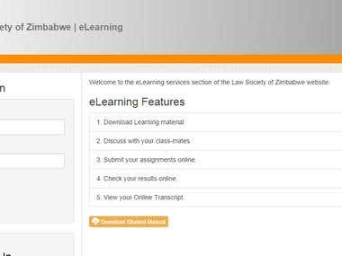 eLearning Platform for a School (http://lawsocietyofzim.com)