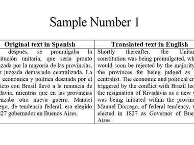 Sample Number 1 - Spanish to English