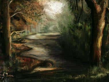 """My Landscape painting """"The Trees Road"""""""