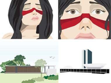 Illustrator vectorial drawings