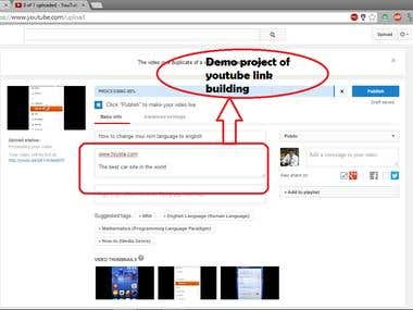 Demo project of YouTube Link Building