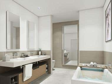 3D view of master bathroom