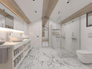 Attic Master Bathroom Interior Design at United States