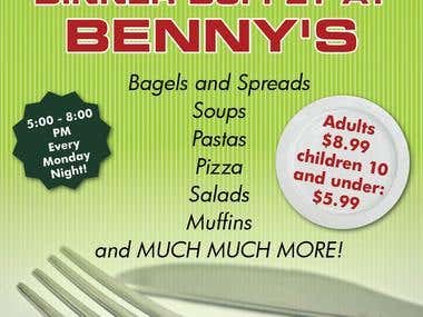 Benny's Menu, Flyer and Meal Voucher!