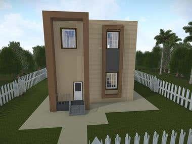 4 houses 3D