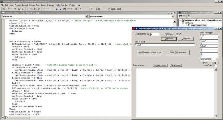 SMS Flooder( PC intefacing w/ Cellphone via RS232/Bluetooth