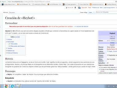 Wikipedia Heybot! (Anime serie) page creation