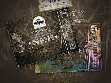 Graphic Design - Masquerade themed Ball Tickets